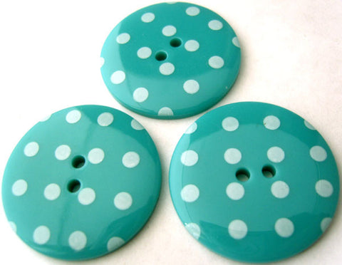 B4851 34mm Turquoise Blue Glossy Polka Dot 2 Hole Button - Ribbonmoon