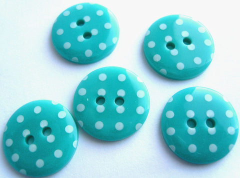B7165 15mm Turquoise and White Polka Dot Glossy 2 Hole Button