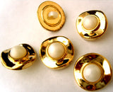 B8044 18mm Half Ball Pearl White Shank Button, Gilded Gold Poly Rim - Ribbonmoon