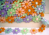 DT01 25mm Multi Coloured Daisy Lace Trim - Ribbonmoon