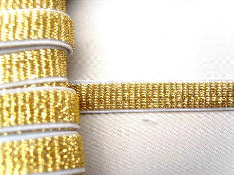 E130 10mm White and Metallic Gold Lurex Stretch Elastic Trimming - Ribbonmoon