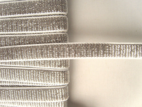 E132 10mm Metallic Silver and White Lurex Stretch Elastic Trimming - Ribbonmoon
