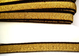 E133 10mm Black and Metallic Gold Lurex Stretch Elastic Trimming