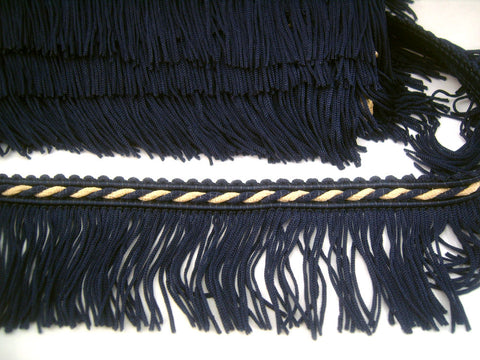 FT1831 5cm Navy and Ecru Cut Fringe on a Corded Braid