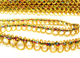 FT3126 12mm Gold and Multi Coloured Metallic Braid Trimming