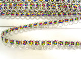 FT3127 11mm Silver and Multi Coloured Metallic Braid Trimming