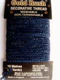 GLITHREAD19 Navy Blue Decorative Glitter Thread, Washable,10 Metre Card