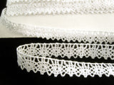 L013 14mm White 100% Cotton Flat Lace