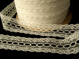 L506 31mm Ivory Cream Flat Eyelet Knitting in Lace