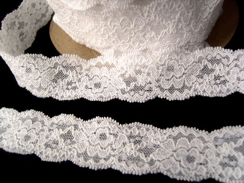 L511 32mm White Elasticated Flat Lace
