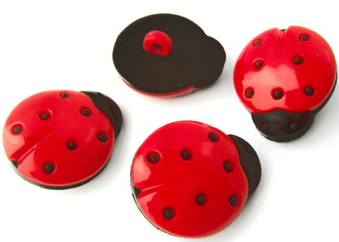 B8178 15mm Red and Black Ladybird Design Novelty Shank Button