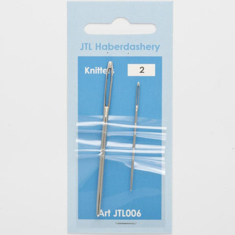 N06 Knitters Hand Sewing Needles Sizes 13 and 18, 2 Needles
