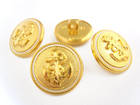 B10031 20m Gold Gilded Poly Anchor Design Shank Button with Ivory Ring