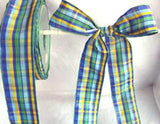 R0081 40mm Blues, Green and Yellow Plaid Tartan Ribbon - Ribbonmoon