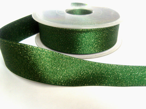 R0126 25mm Hunter Green Satin and Metallic Gold Shot Ribbon