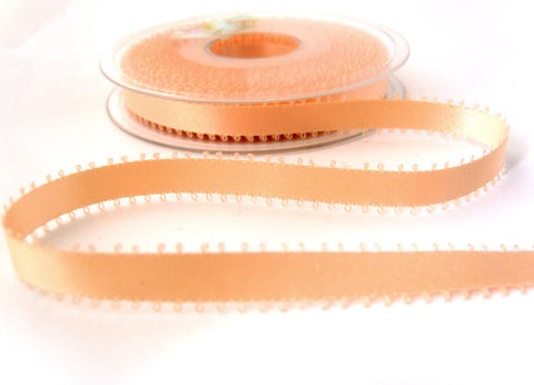 R0226 9mm Peach Double Face Satin Ribbon with Picot Feather Edges