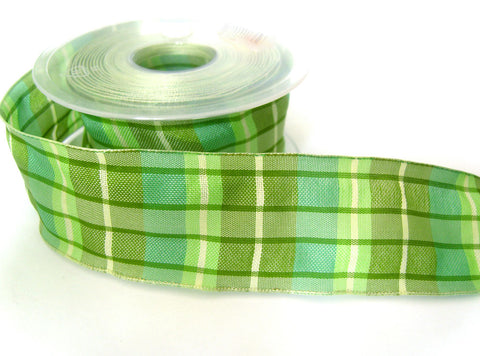 R0248 40mm Greens and Cream Polyester Gingham Plaid Ribbon, Wired