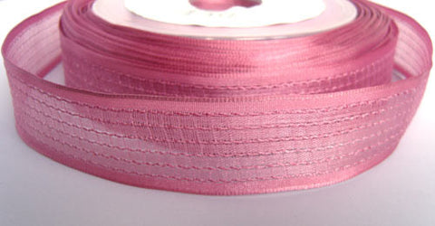 R0317 26mm Dusky Pink Woven Sheer Ribbon. Wire Edge - Ribbonmoon