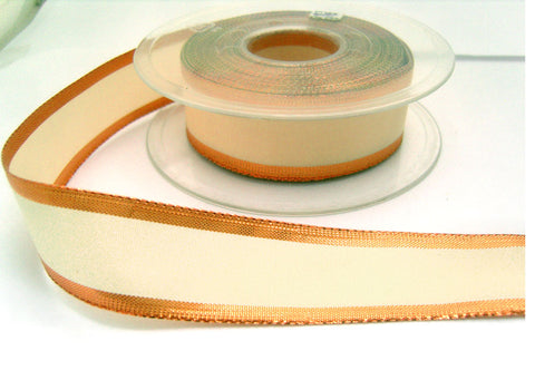 R0407 26mm Metallic Copper and Cream Polyester Ribbon