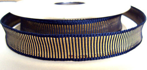 R0439 Navy and Metallic Gold Grosgrian Ribbon by Berisfords - Ribbonmoon