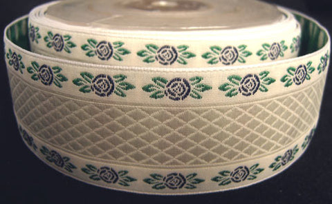 R0447 39mm Eggshell White Woven Jacquard Ribbon with a Rose Design - Ribbonmoon
