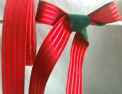 R0460 32mm Palstic Backed Red and Green Striped Velveteen Ribbon - Ribbonmoon