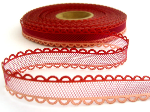 R0462 17mm Wine Tulle Ribbon with Pink and Russet Acetate Borders