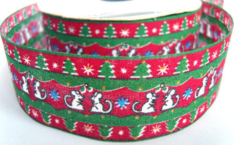 R0526 35mm 100% Cotton Christmas Ribbon, Musical Mouse Design - Ribbonmoon