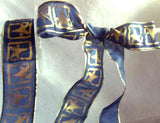 R0540 40mm Translucent Navy Ribbon with a Metallic Gold Print and Edges - Ribbonmoon