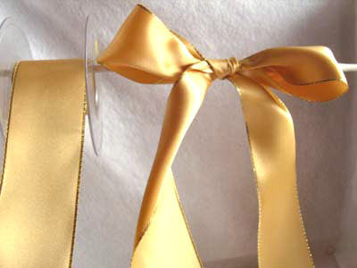 R0544 50mm Honey Gold Double Faced Satin Ribbon, Metallic Gold Edge - Ribbonmoon