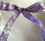 R0594 26mm Purple Translucent Polyester Ribbon, Metallic Gold Print - Ribbonmoon