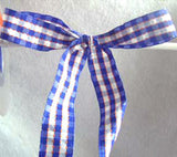R0599 25mm Blue and White Gingham Ribbon with Orange Banded Stripes - Ribbonmoon