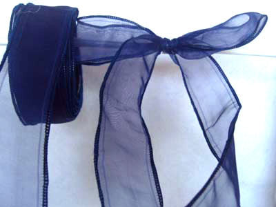 R0702 35mm Royal Navy Sheer Ribbon with Wired Borders - Ribbonmoon
