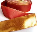 R1052 40mm Cardinal Red and Metallic Gold Reversible Ribbon. Wired - Ribbonmoon