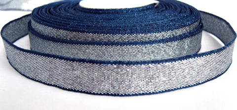 R1077C 13mm Silver and Navy Shot Lame Ribbon - Ribbonmoon