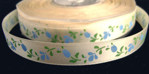 R1112 13mm Cream Satin Ribbon with a Flowery Design - Ribbonmoon