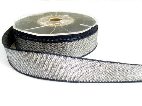 R1402 23mm Silver and Navy Shot Metallic Lame Ribbon