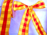 R1505 40mm Red and Yellow Gingham Ribbon with Satin Banded Borders - Ribbonmoon