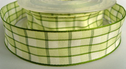R1567 25mm Greens and Cream Gingham Ribbon - Ribbonmoon
