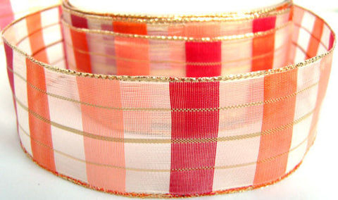 R1585 Red, Orange and Peach Translucent Block Sheer Ribbon, Gold Edges - Ribbonmoon