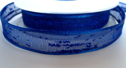 R2069 15mm Royal Blue Feather Sheer Ribbon. Wire Edge, Berisfords - Ribbonmoon