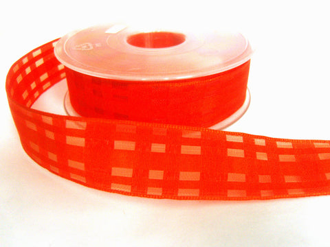 R2090 25mm Flame Orange Sheer Check Ribbon with Wired Edges