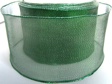 R2183 70mm Green Metallic Mesh Ribbon with Wired Borders - Ribbonmoon