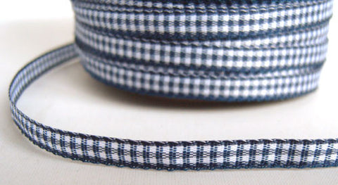 R2191 5mm Navy and White Gingham Ribbon - Ribbonmoon