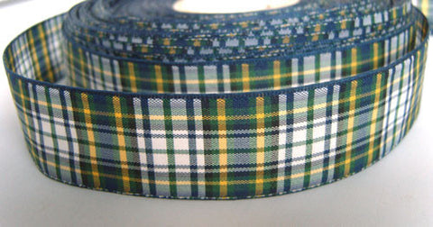 R2214 25mm Navy, Green, White and Yellow Tartan Ribbon - Ribbonmoon