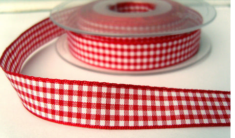 R2218 15mm Red and White Polyester Gingham Ribbon by Berisfords