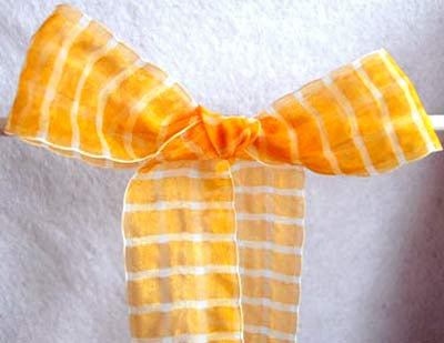 R2284 41mm Orange and White Sheer Check Ribbon - Ribbonmoon