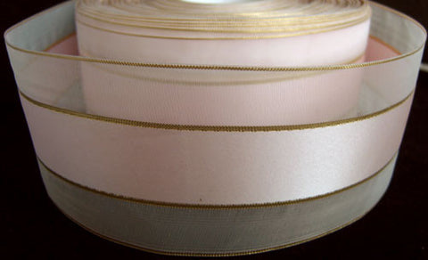 R2310 52mm Pale Pink Sheer and Satin Ribbon with Thin Gold Stripes - Ribbonmoon