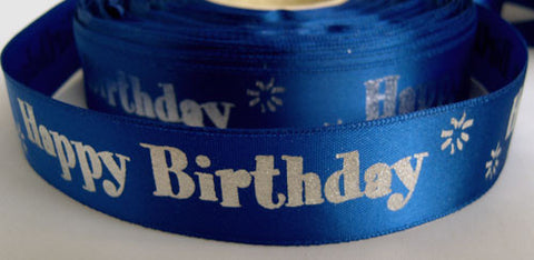 "R2337 23mm Royal Blue Satin Ribbon with a ""Happy Birthday"" Metallic Print - Ribbonmoon"