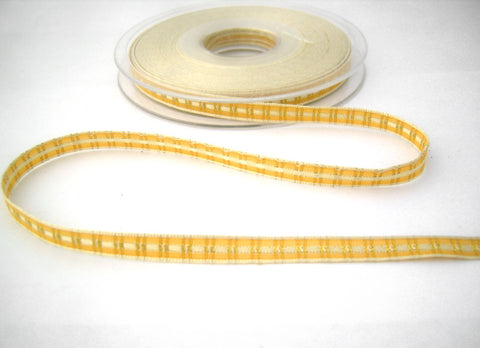 R2379 8mm Cream and Honey Woven Satin and Gold Metallic Tartan Ribbon